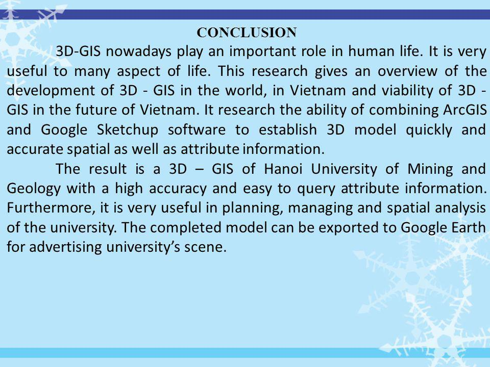 CONCLUSION 3D-GIS nowadays play an important role in human life.