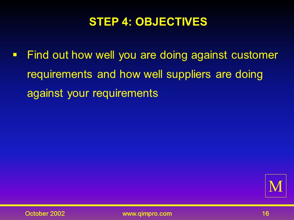 October 2002www.qimpro.com16 STEP 4: OBJECTIVES Find out how well you are doing against customer requirements and how well suppliers are doing against your requirements M