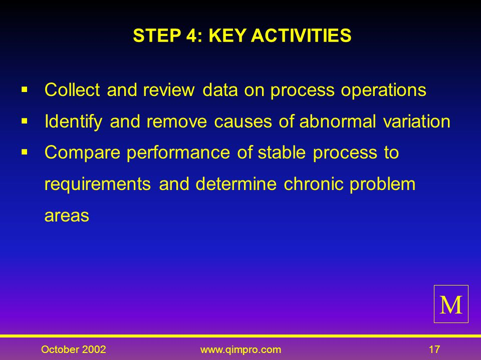 October 2002www.qimpro.com17 STEP 4: KEY ACTIVITIES Collect and review data on process operations Identify and remove causes of abnormal variation Compare performance of stable process to requirements and determine chronic problem areas M