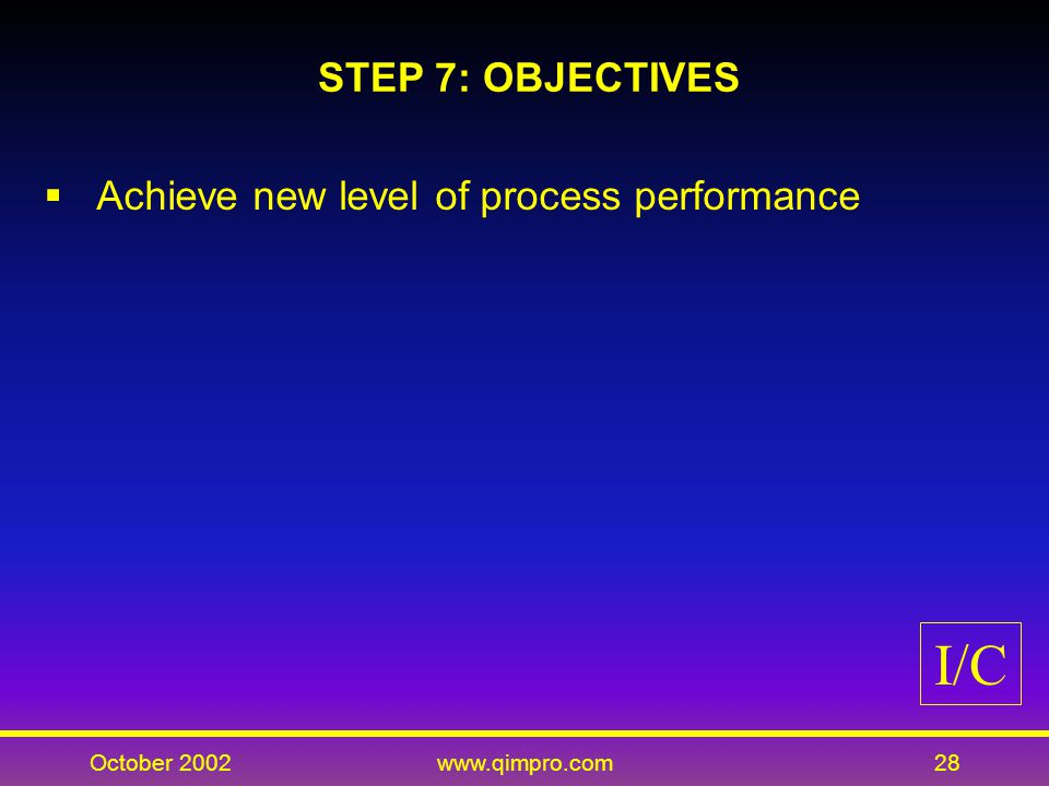 October 2002www.qimpro.com28 STEP 7: OBJECTIVES Achieve new level of process performance I/C