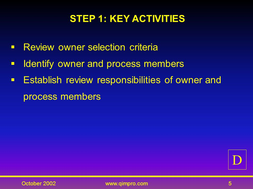 October 2002www.qimpro.com5 STEP 1: KEY ACTIVITIES Review owner selection criteria Identify owner and process members Establish review responsibilities of owner and process members D