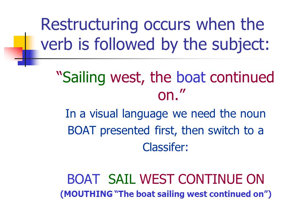 Restructuring occurs when the verb is followed by the subject: Sailing west, the boat continued on.