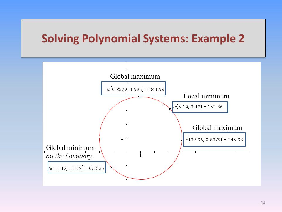 Solving Polynomial Systems: Example 2 So, parametric equations has transformed this multiple variable calculus problem into a single variable problem.