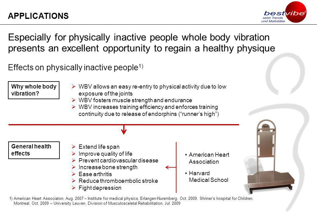Especially for physically inactive people whole body vibration presents an excellent opportunity to regain a healthy physique Effects on physically inactive people 1) APPLICATIONS Why whole body vibration.