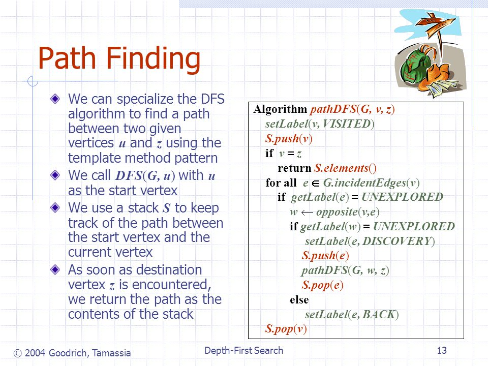 © 2004 Goodrich, Tamassia Depth-First Search13 Path Finding We can specialize the DFS algorithm to find a path between two given vertices u and z using the template method pattern We call DFS(G, u) with u as the start vertex We use a stack S to keep track of the path between the start vertex and the current vertex As soon as destination vertex z is encountered, we return the path as the contents of the stack Algorithm pathDFS(G, v, z) setLabel(v, VISITED) S.push(v) if v z return S.elements() for all e G.incidentEdges(v) if getLabel(e) UNEXPLORED w opposite(v,e) if getLabel(w) UNEXPLORED setLabel(e, DISCOVERY) S.push(e) pathDFS(G, w, z) S.pop(e) else setLabel(e, BACK) S.pop(v)