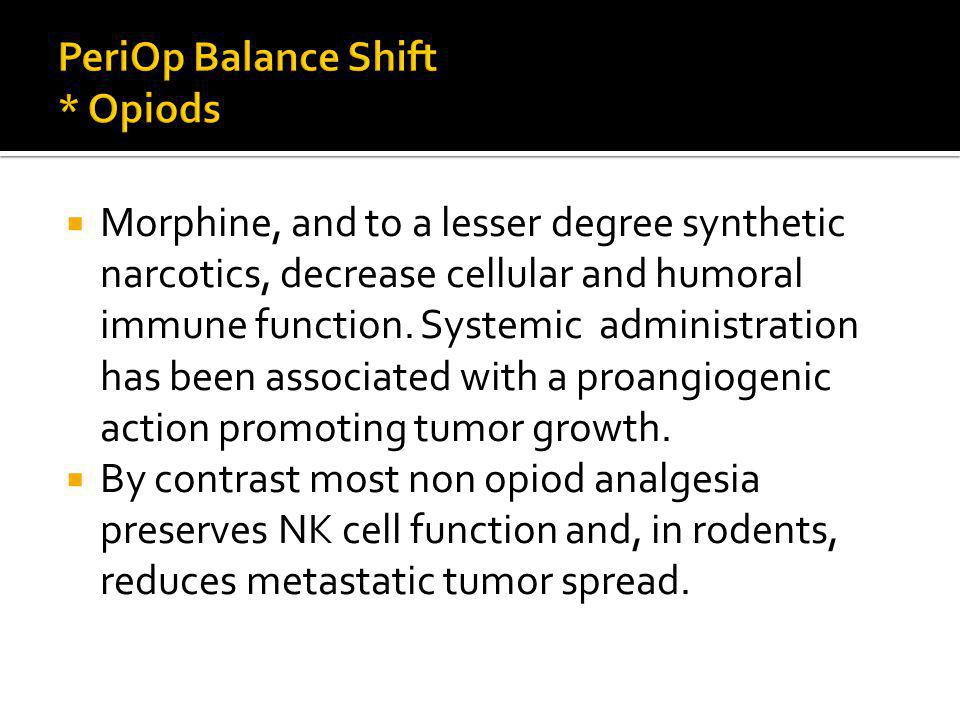 Morphine, and to a lesser degree synthetic narcotics, decrease cellular and humoral immune function.