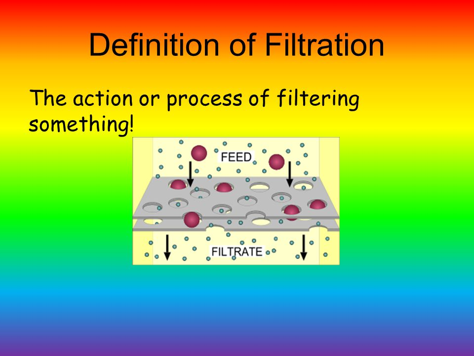 Definition of Filtration The action or process of filtering something!
