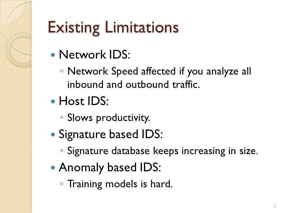 Existing Limitations Network IDS: Network Speed affected if you analyze all inbound and outbound traffic.