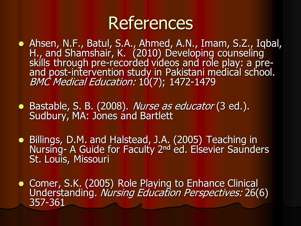 References Ahsen, N.F., Batul, S.A., Ahmed, A.N., Imam, S.Z., Iqbal, H., and Shamshair, K.