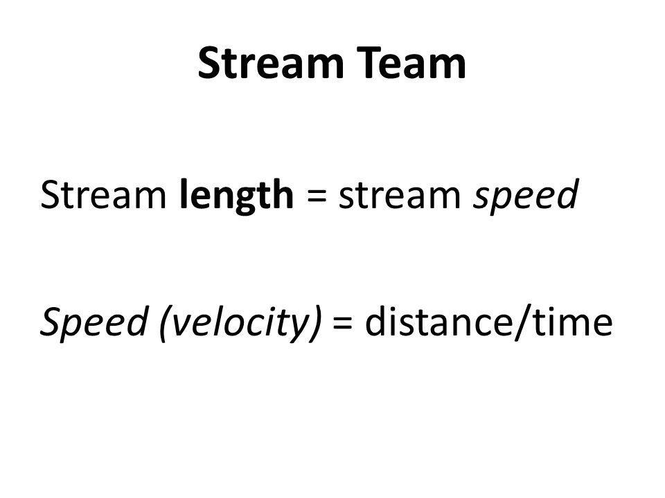 Stream Team Stream length = stream speed Speed (velocity) = distance/time