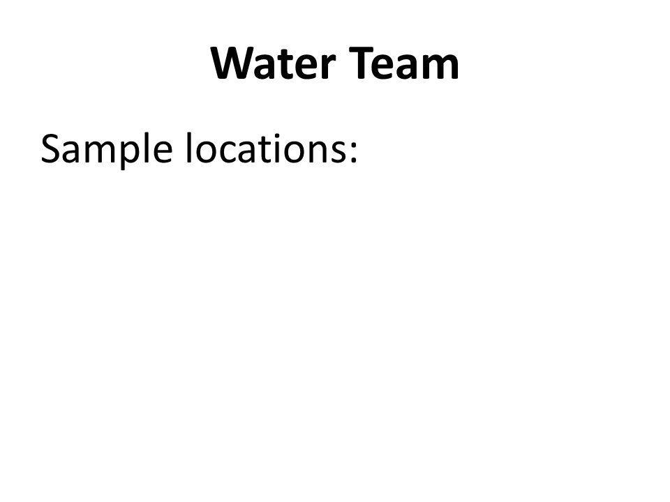 Sample locations: Water Team