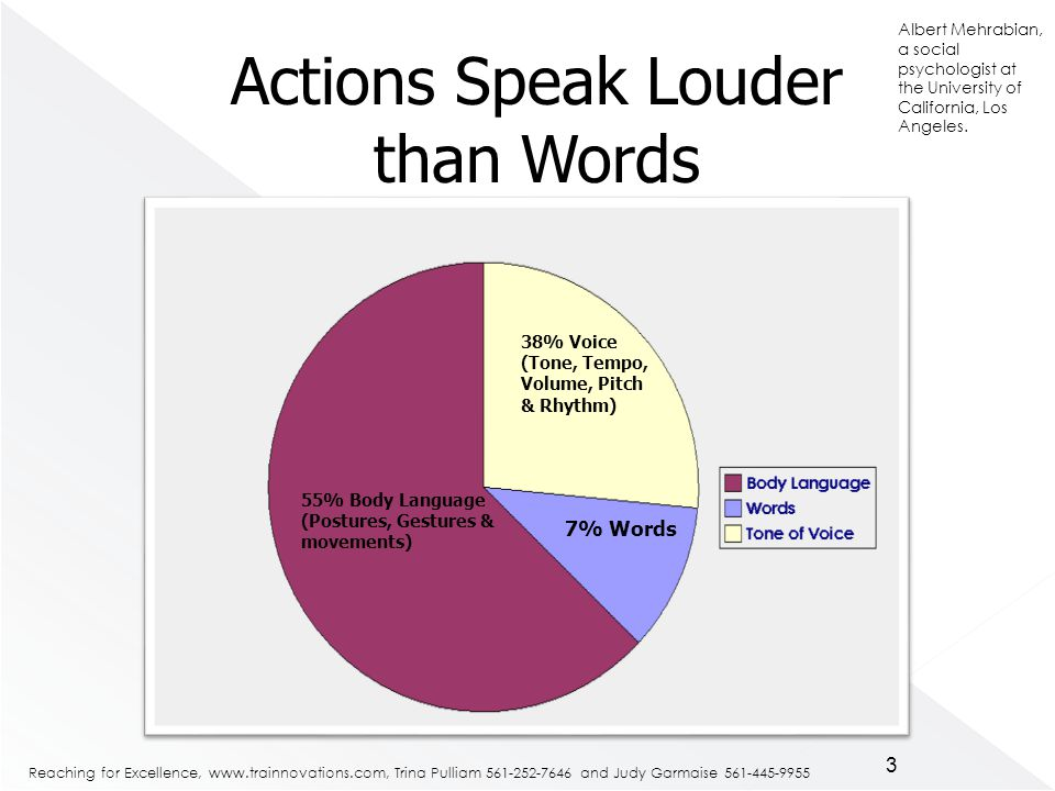 Reaching for Excellence,   Trina Pulliam and Judy Garmaise % Body Language (Postures, Gestures & movements) 38% Voice (Tone, Tempo, Volume, Pitch & Rhythm) 7% Words Actions Speak Louder than Words 3 Albert Mehrabian, a social psychologist at the University of California, Los Angeles.