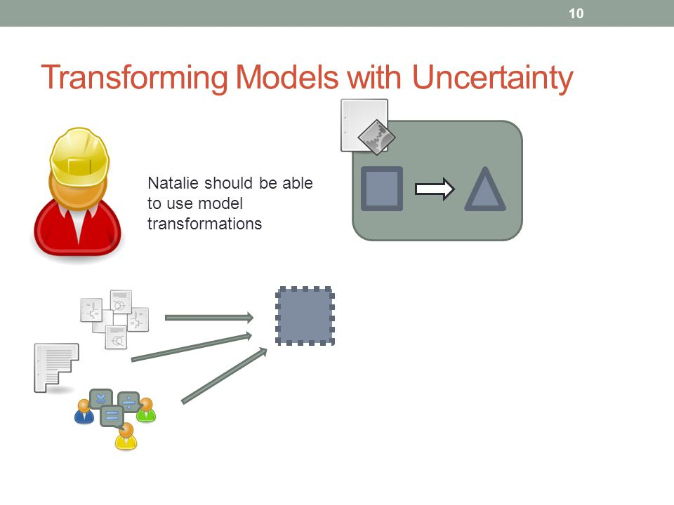 Transforming Models with Uncertainty 10 Natalie should be able to use model transformations