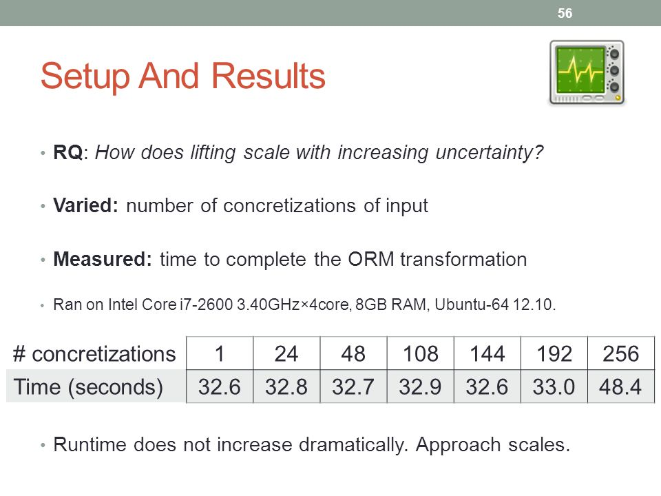 Setup And Results RQ: How does lifting scale with increasing uncertainty.