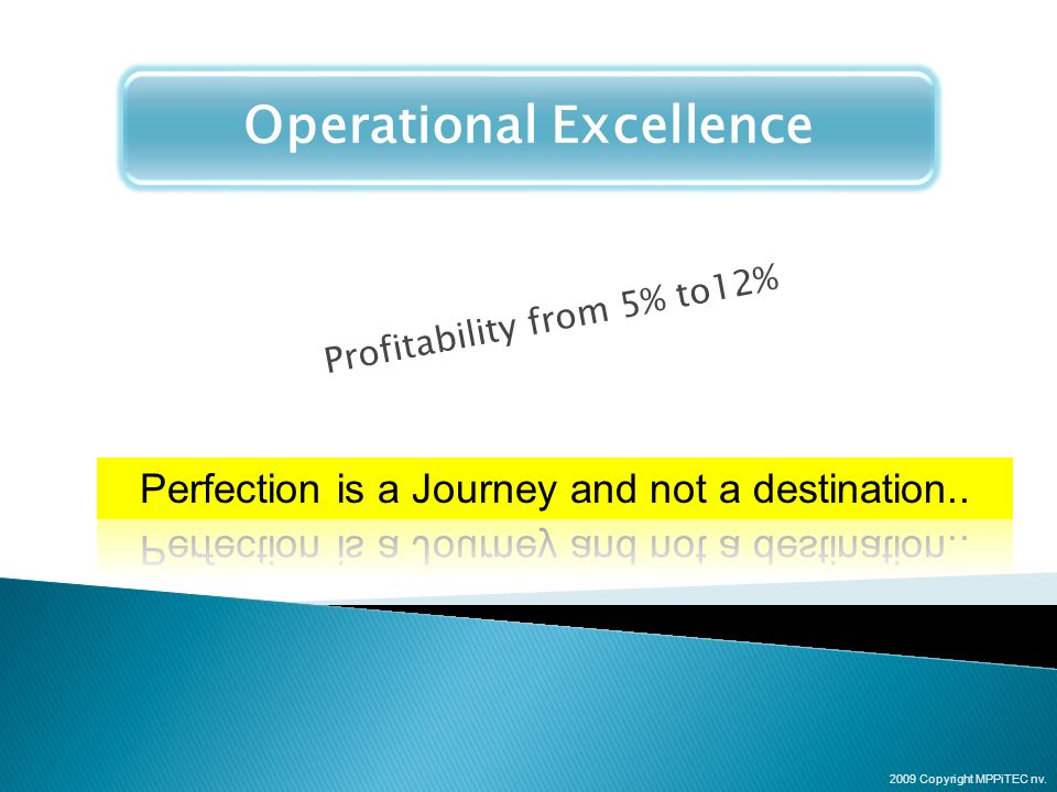 Operational Excellence Profitability from 5% to12% 2009 Copyright MPPiTEC nv.