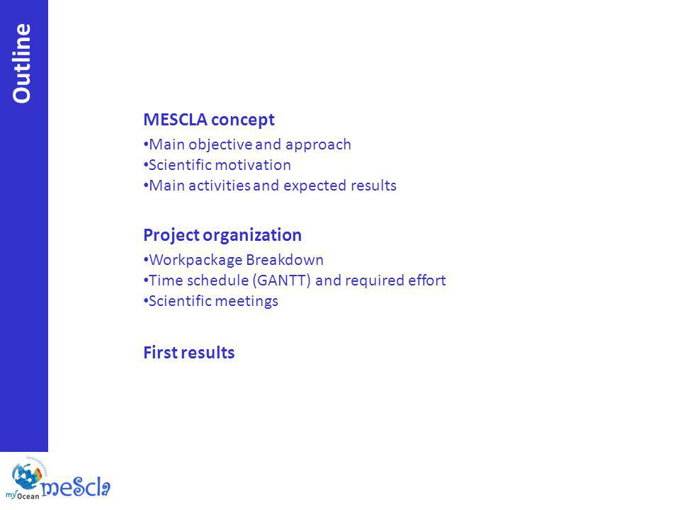 MESCLA concept Main objective and approach Scientific motivation Main activities and expected results Project organization Workpackage Breakdown Time schedule (GANTT) and required effort Scientific meetings First results Outline