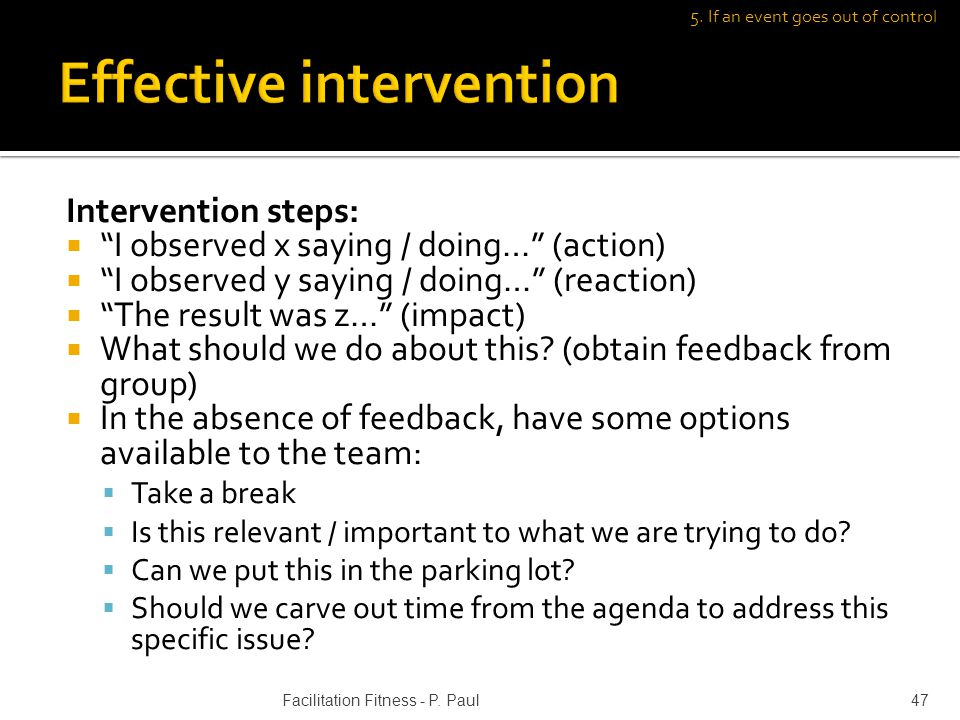 Intervention steps: I observed x saying / doing… (action) I observed y saying / doing… (reaction) The result was z… (impact) What should we do about this.