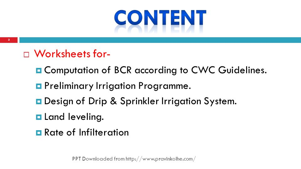 Worksheets for- Computation of BCR according to CWC Guidelines.