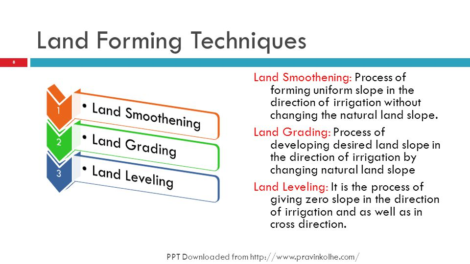 Land Forming Techniques 8 PPT Downloaded from http://www.pravinkolhe.com/ Land Smoothening: Process of forming uniform slope in the direction of irrigation without changing the natural land slope.