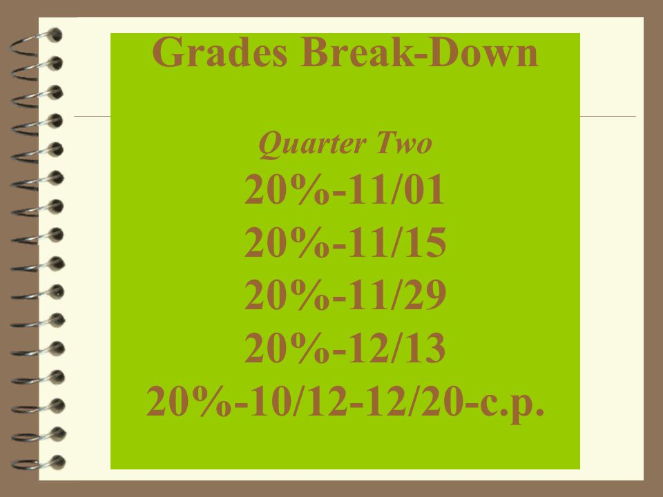Grades Break-Down Quarter Two 20%-11/01 20%-11/15 20%-11/29 20%-12/13 20%-10/12-12/20-c.p.