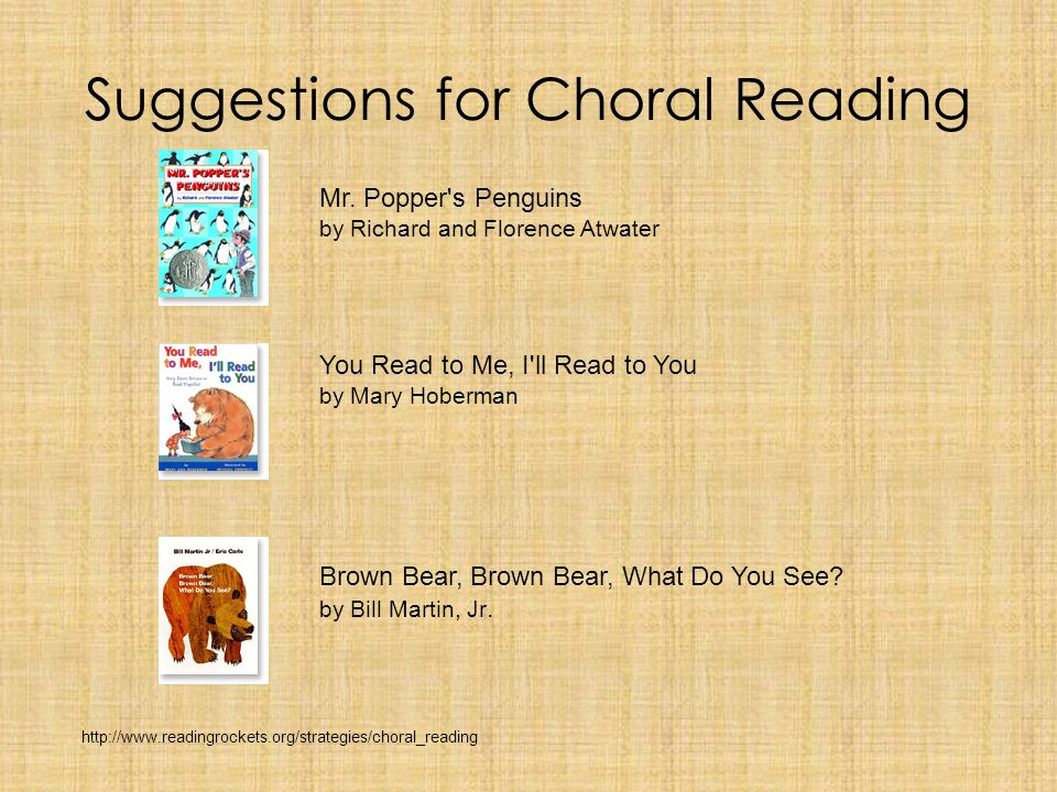 Choral Reading Title: Choral Reading Content Area: Reading Grade level: Grade 1 Standard: Phonics/Word Analysis - The student demonstrates knowledge of the alphabetic principle and applies grade level phonics skills to read text.