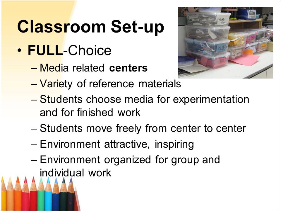 Classroom Set-up FULL-Choice –Media related centers –Variety of reference materials –Students choose media for experimentation and for finished work –Students move freely from center to center –Environment attractive, inspiring –Environment organized for group and individual work