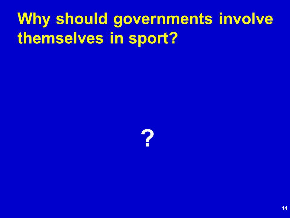 14 Why should governments involve themselves in sport