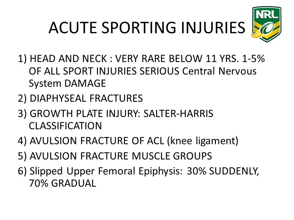 ACUTE SPORTING INJURIES 1) HEAD AND NECK : VERY RARE BELOW 11 YRS.