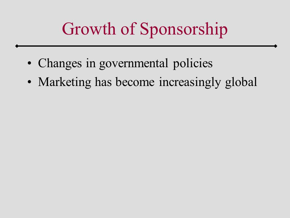 Growth of Sponsorship Changes in governmental policies Marketing has become increasingly global