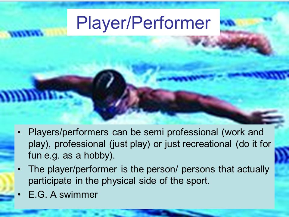 Player/Performer Players/performers can be semi professional (work and play), professional (just play) or just recreational (do it for fun e.g.