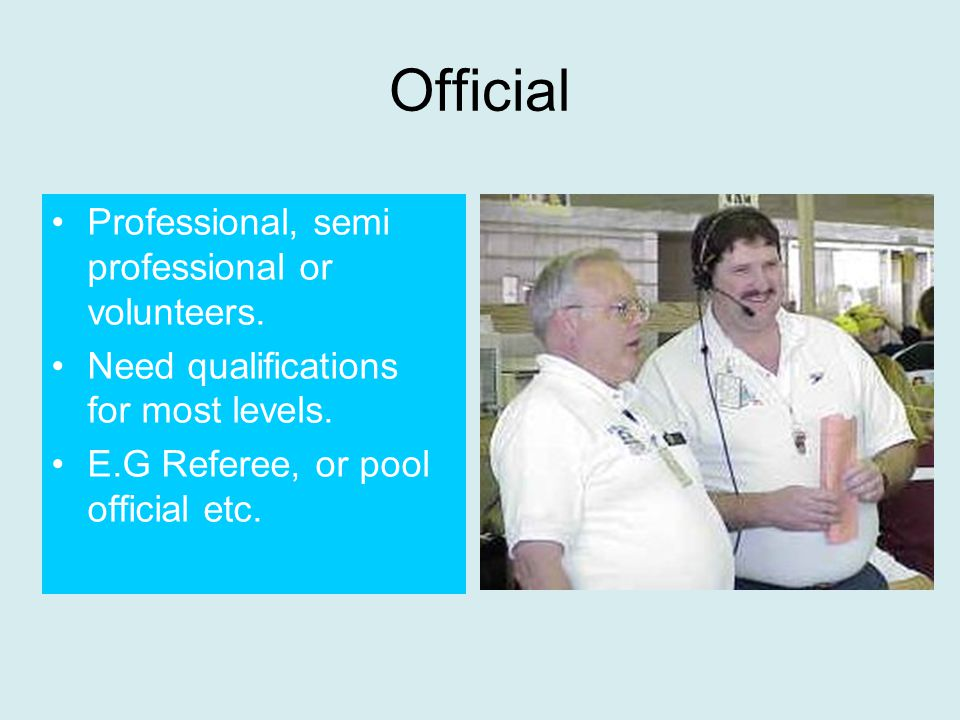 Official Professional, semi professional or volunteers.