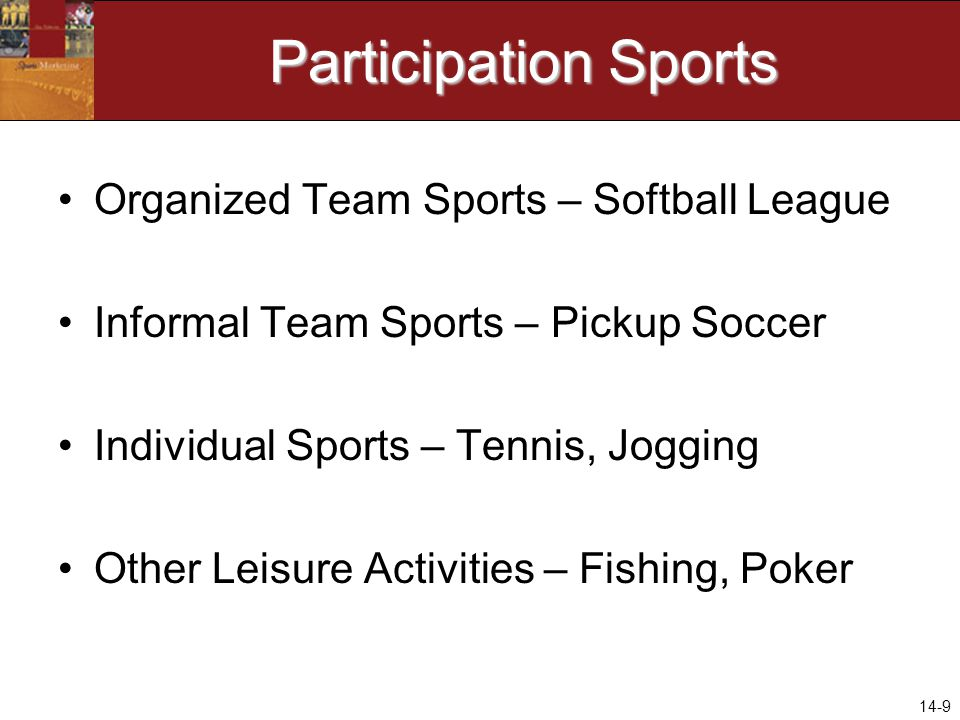 14-9 Participation Sports Organized Team Sports – Softball League Informal Team Sports – Pickup Soccer Individual Sports – Tennis, Jogging Other Leisure Activities – Fishing, Poker