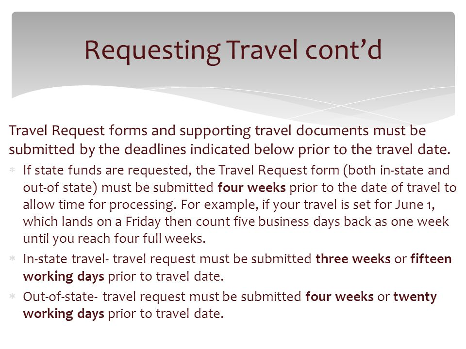 Travel Request forms and supporting travel documents must be submitted by the deadlines indicated below prior to the travel date.