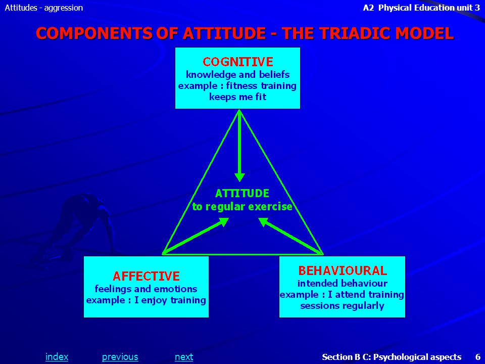 A2 Physical Education unit 3 Section B C: Psychological aspects 6 indexpreviousnext Attitudes - aggression COMPONENTS OF ATTITUDE - THE TRIADIC MODEL