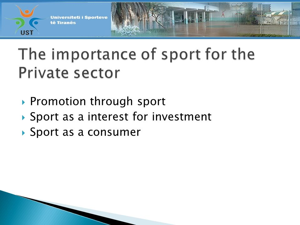 Promotion through sport Sport as a interest for investment Sport as a consumer