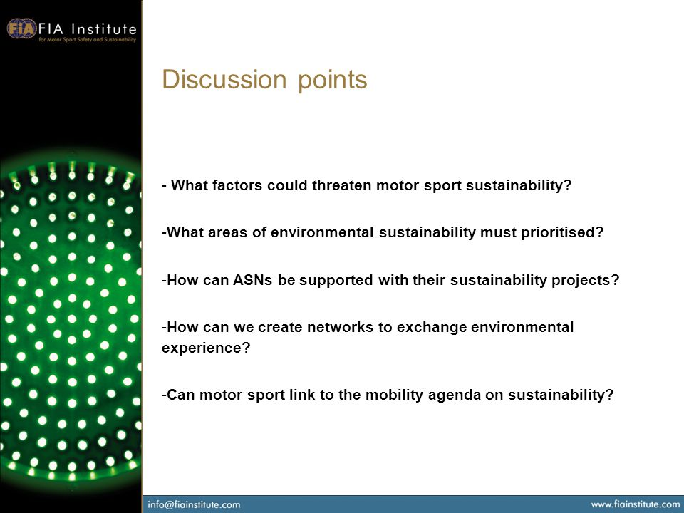 Discussion points - What factors could threaten motor sport sustainability.