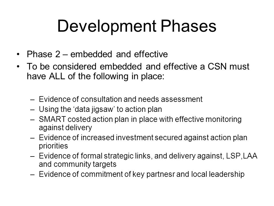 Development Phases Phase 2 – embedded and effective To be considered embedded and effective a CSN must have ALL of the following in place: –Evidence of consultation and needs assessment –Using the data jigsaw to action plan –SMART costed action plan in place with effective monitoring against delivery –Evidence of increased investment secured against action plan priorities –Evidence of formal strategic links, and delivery against, LSP,LAA and community targets –Evidence of commitment of key partnesr and local leadership