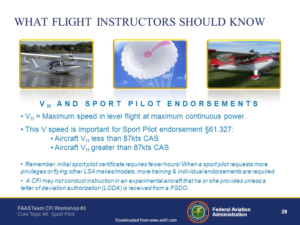 28 Federal Aviation Administration FAASTeam CFI Workshop #3 Core Topic #6: Sport Pilot Downloaded from www.avhf.com WHAT FLIGHT INSTRUCTORS SHOULD KNOW V H = Maximum speed in level flight at maximum continuous power.