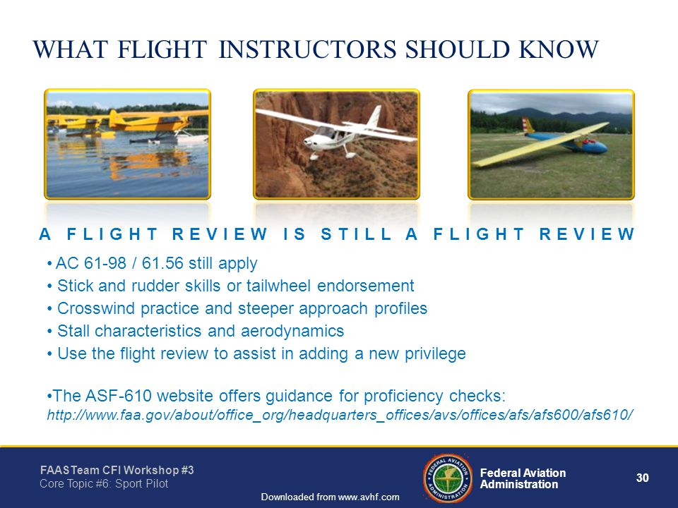 30 Federal Aviation Administration FAASTeam CFI Workshop #3 Core Topic #6: Sport Pilot Downloaded from www.avhf.com WHAT FLIGHT INSTRUCTORS SHOULD KNOW AC 61-98 / 61.56 still apply Stick and rudder skills or tailwheel endorsement Crosswind practice and steeper approach profiles Stall characteristics and aerodynamics Use the flight review to assist in adding a new privilege The ASF-610 website offers guidance for proficiency checks: http://www.faa.gov/about/office_org/headquarters_offices/avs/offices/afs/afs600/afs610/ A FLIGHT REVIEW IS STILL A FLIGHT REVIEW