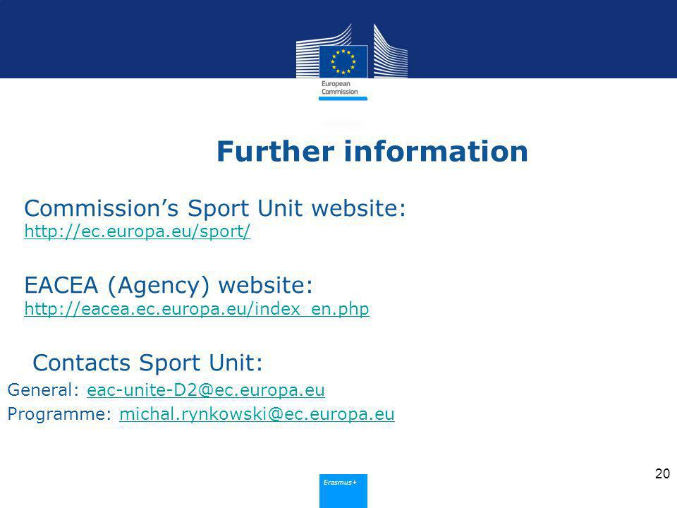 Erasmus+ Further information Commissions Sport Unit website:     EACEA (Agency) website:     Contacts Sport Unit: General: Programme: 20