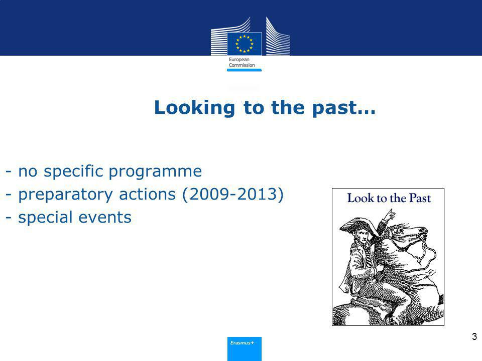 Erasmus+ Looking to the past… - no specific programme - preparatory actions ( ) - special events 3
