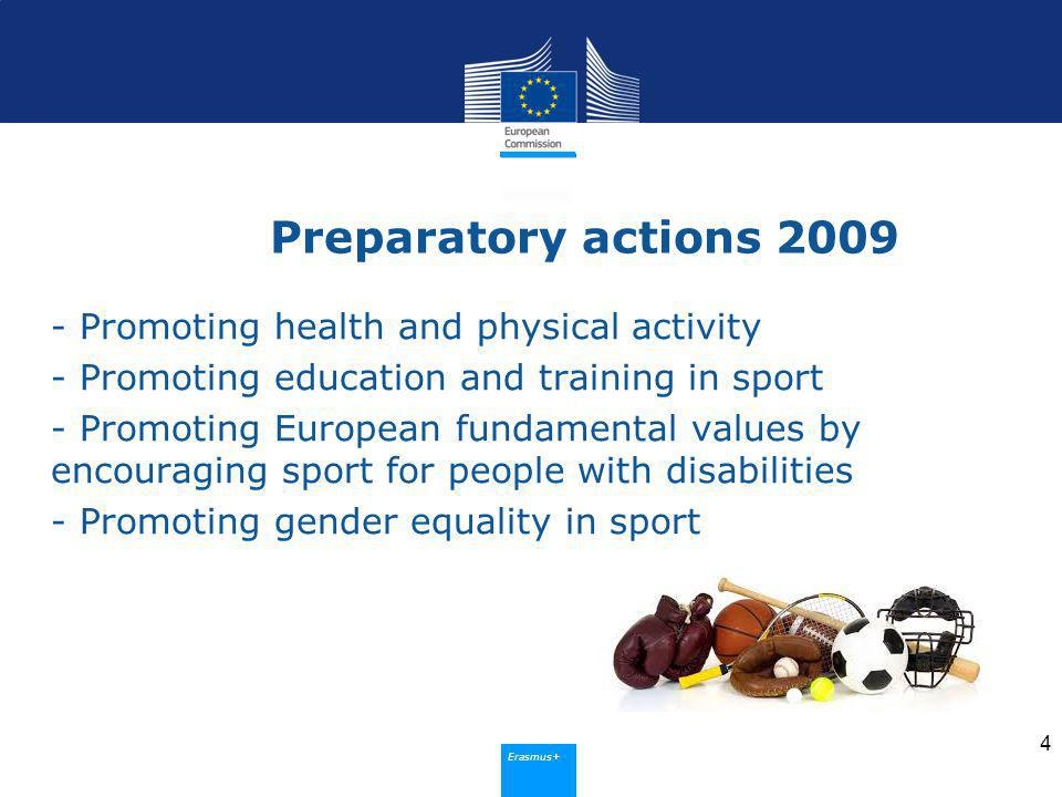 Erasmus+ Preparatory actions Promoting health and physical activity - Promoting education and training in sport - Promoting European fundamental values by encouraging sport for people with disabilities - Promoting gender equality in sport 4