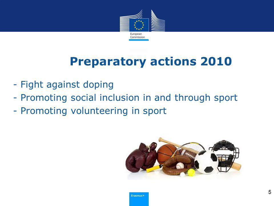 Erasmus+ Preparatory actions Fight against doping - Promoting social inclusion in and through sport - Promoting volunteering in sport 5