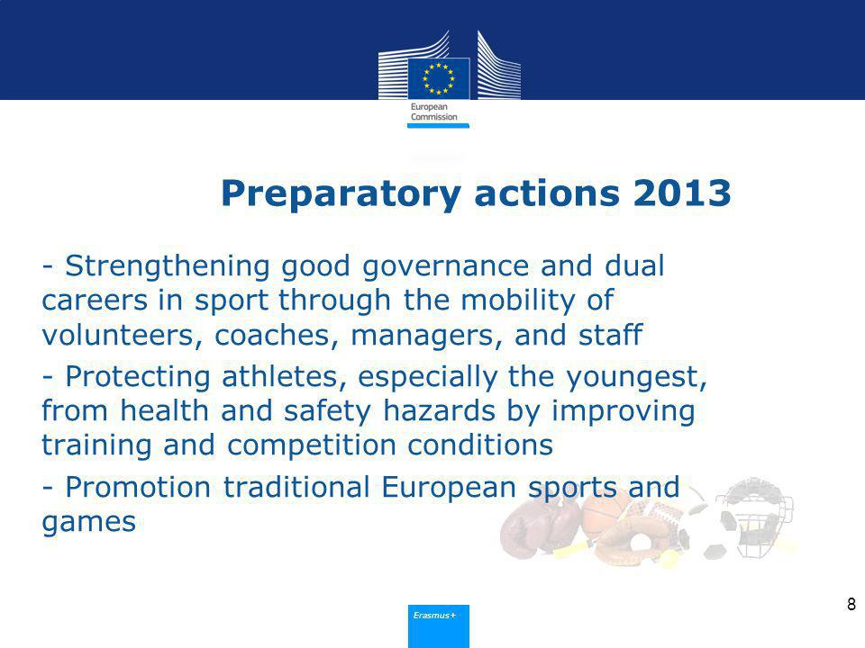 Erasmus+ Preparatory actions Strengthening good governance and dual careers in sport through the mobility of volunteers, coaches, managers, and staff - Protecting athletes, especially the youngest, from health and safety hazards by improving training and competition conditions - Promotion traditional European sports and games 8