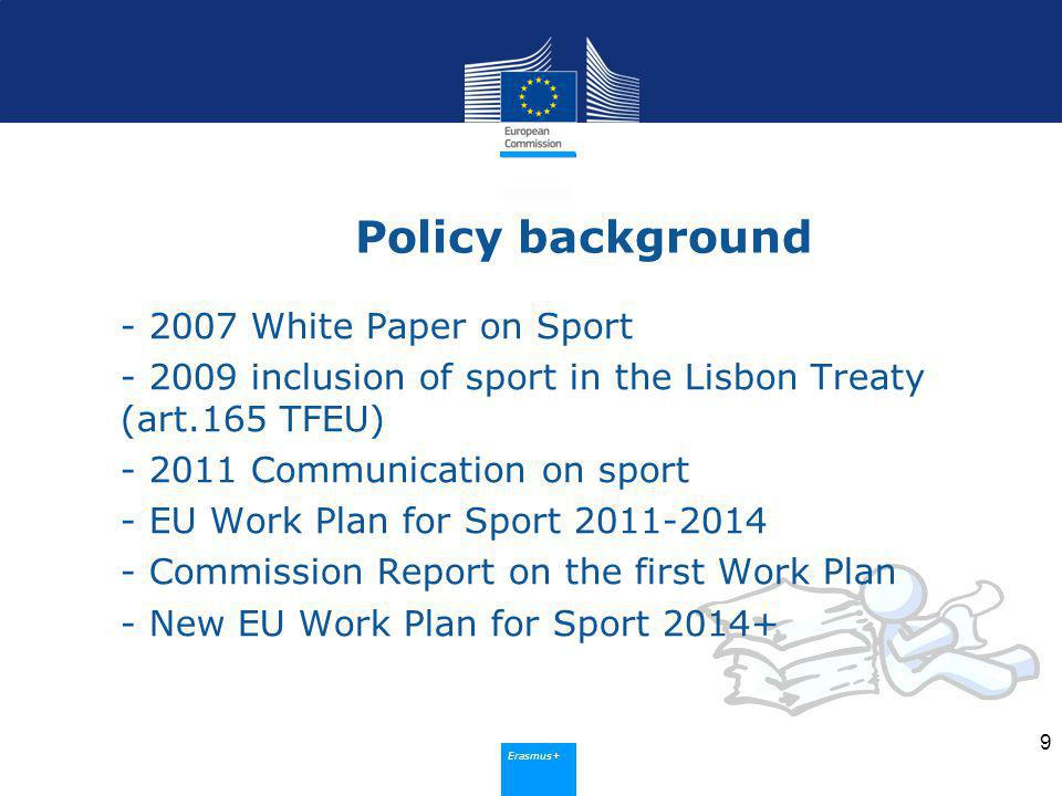 Erasmus+ Policy background White Paper on Sport inclusion of sport in the Lisbon Treaty (art.165 TFEU) Communication on sport - EU Work Plan for Sport Commission Report on the first Work Plan - New EU Work Plan for Sport