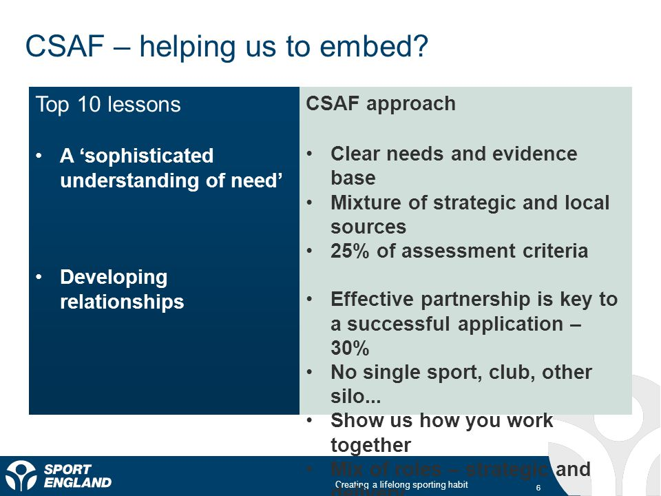 Creating a lifelong sporting habit CSAF – helping us to embed.