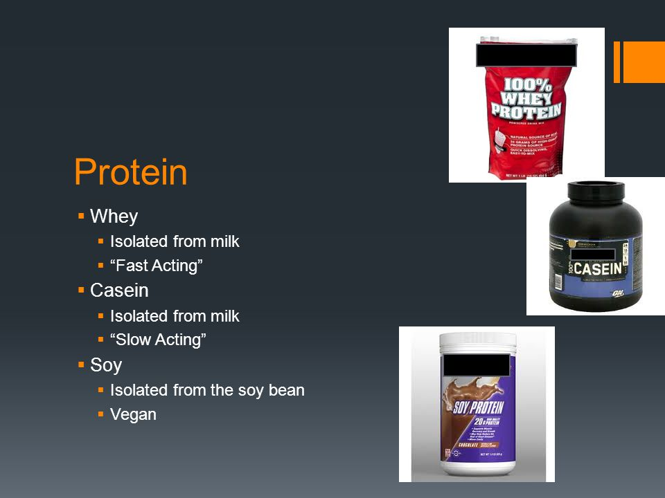 Protein Whey Isolated from milk Fast Acting Casein Isolated from milk Slow Acting Soy Isolated from the soy bean Vegan