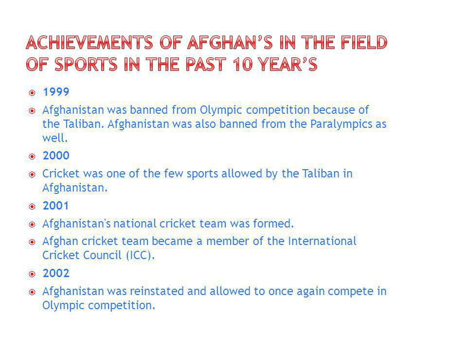 1999 Afghanistan was banned from Olympic competition because of the Taliban.