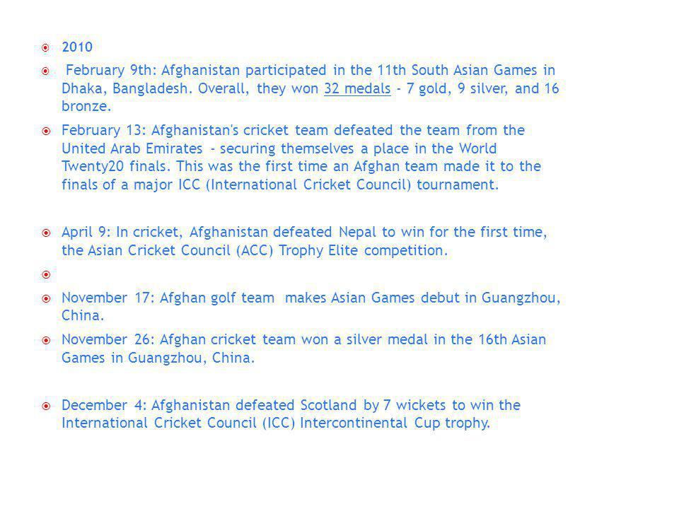 2010 February 9th: Afghanistan participated in the 11th South Asian Games in Dhaka, Bangladesh.