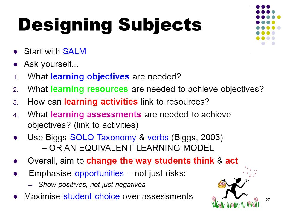 Start with SALM Ask yourself... 1. What learning objectives are needed.